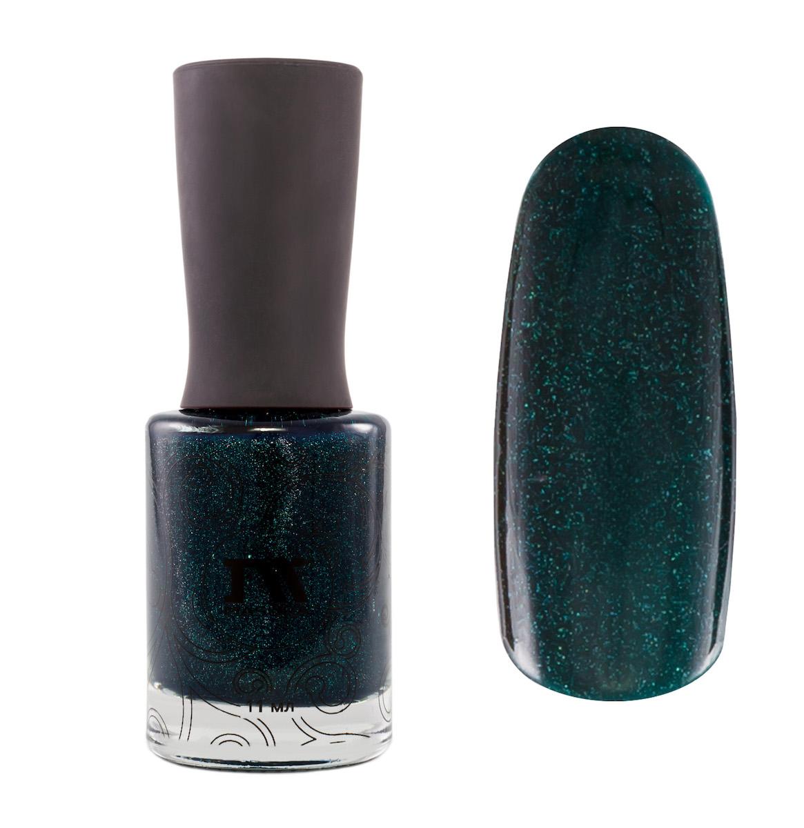 Masura Лак для ногтей Поменьше бы Понедельников, 11 мл1022темно-зеленый с изумрудным подтоном, с явным голографическим и зеленовато-голубым мерцанием