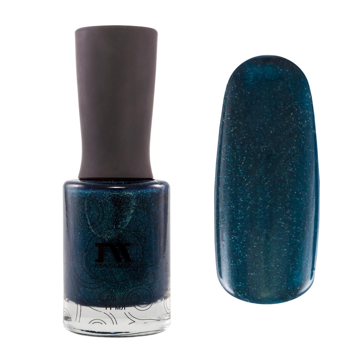 Masura Лак для ногтей Вижу, Ты Меня Любишь, 11 мл1028темно-зеленый с серым подтоном, с явным голографическим и зеленовато-голубым мерцанием