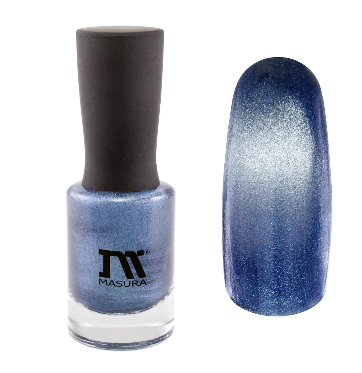 Masura Лак для ногтей Звездный Аквамарин, 11 млDB4010(DB4.510)_белоснежканасыщенный дымчато-синий, с серебристым подтоном, плотный