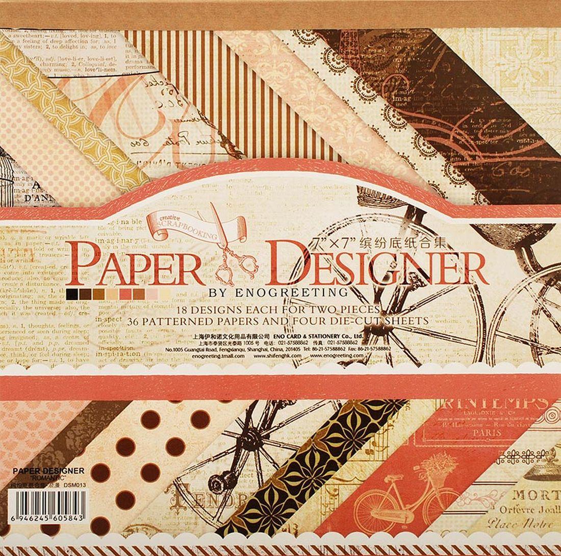 Набор бумаги для скрапбукинга Белоснежка Романтика, 17,5 x 17,5 см, 36 листов011-SBВ наборе:36 листов (18 видов дизайна по 2 листа) + 4 листа с вырубкой. Размер: 17.5см*17.5см