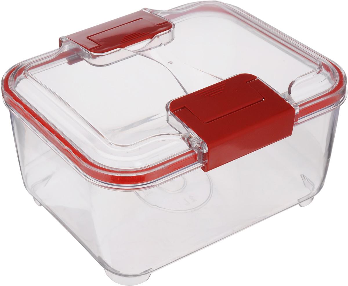 Контейнер Status, цвет: прозрачный, красный, 3 лVT-1520(SR)Пищевой контейнер Status изготовлен из высококачественного пищевого пластика. Контейнер безопасен для здоровья, не содержит BPA. Изделие имеет прямоугольную форму и оснащено плотно закрывающейся крышкой. Прозрачные стенки позволяют видеть содержимое. Контейнер закрывается при помощи двух защелок.Можно мыть в посудомоечной машине.Контейнер подходит для использования вморозильной камере и СВЧ.