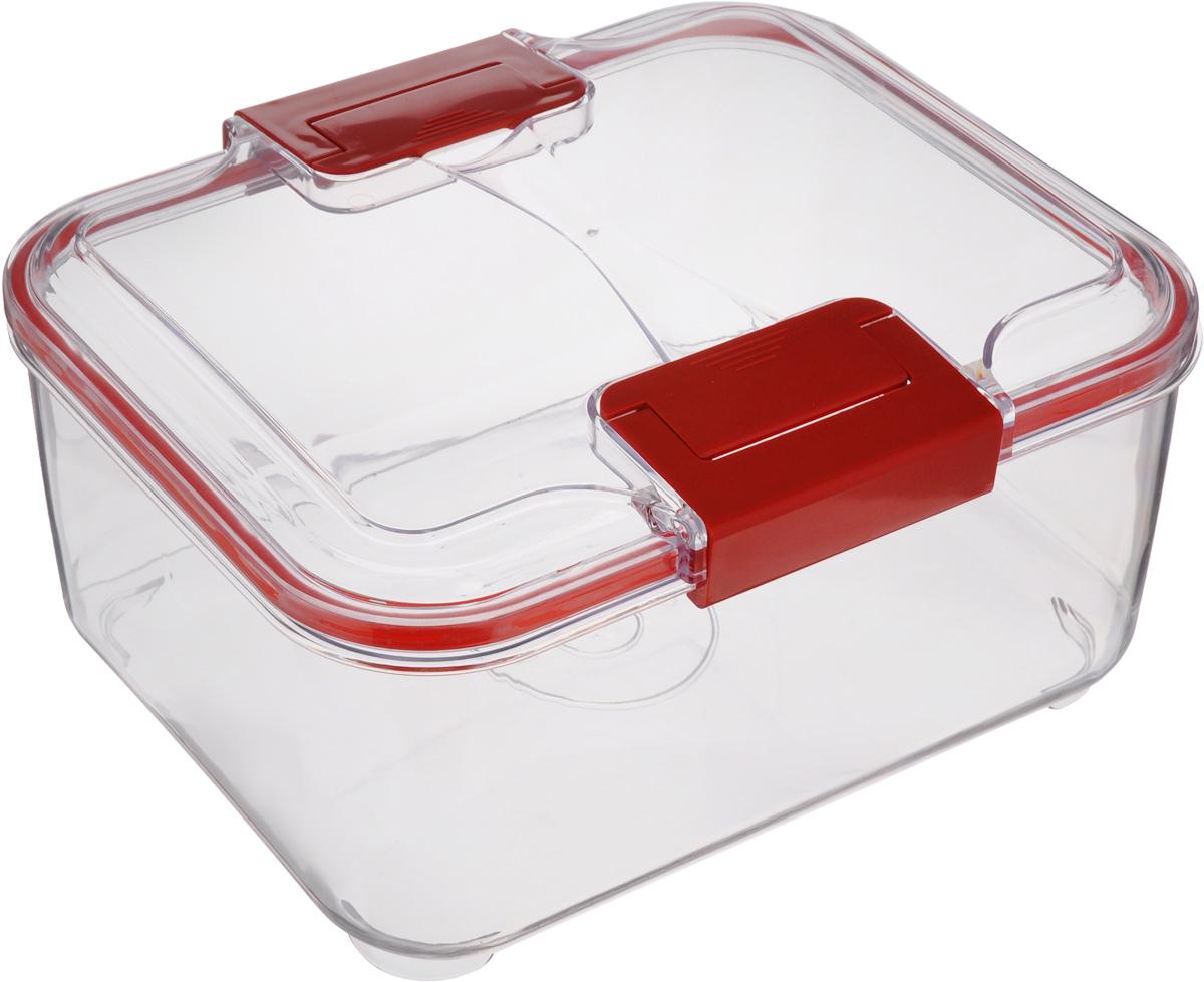 Контейнер Status, цвет: прозрачный, красный, 2 лVT-1520(SR)Пищевой контейнер Status изготовлен из высококачественного пищевого пластика. Контейнер безопасен для здоровья, не содержит BPA. Изделие имеет прямоугольную форму и оснащено плотно закрывающейся крышкой. Прозрачные стенки позволяют видеть содержимое. Контейнер закрывается при помощи двух защелок.Можно мыть в посудомоечной машине.Контейнер подходит для использования вморозильной камере и СВЧ.