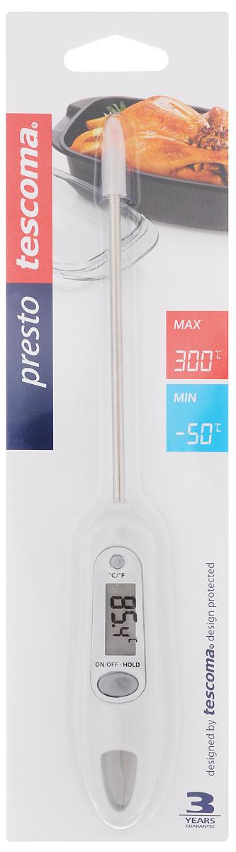 Термометр цифровой Tescoma Presto, цвет: белый420910_белыйЦифровой термометр Tescoma Presto изготовлен из высококачественной нержавеющей стали и пластика, снабжен ЖК-монитором и защитным покрытием для датчика. Прибор быстро и точно измеряет внутреннюю температуру пищи, напитков, соусов в градусах Цельсия °С и по Фаренгейту °F. Устойчив к пару и влаге. Не пригоден для мытья в посудомоечной машине. В комплект входят батарейки.