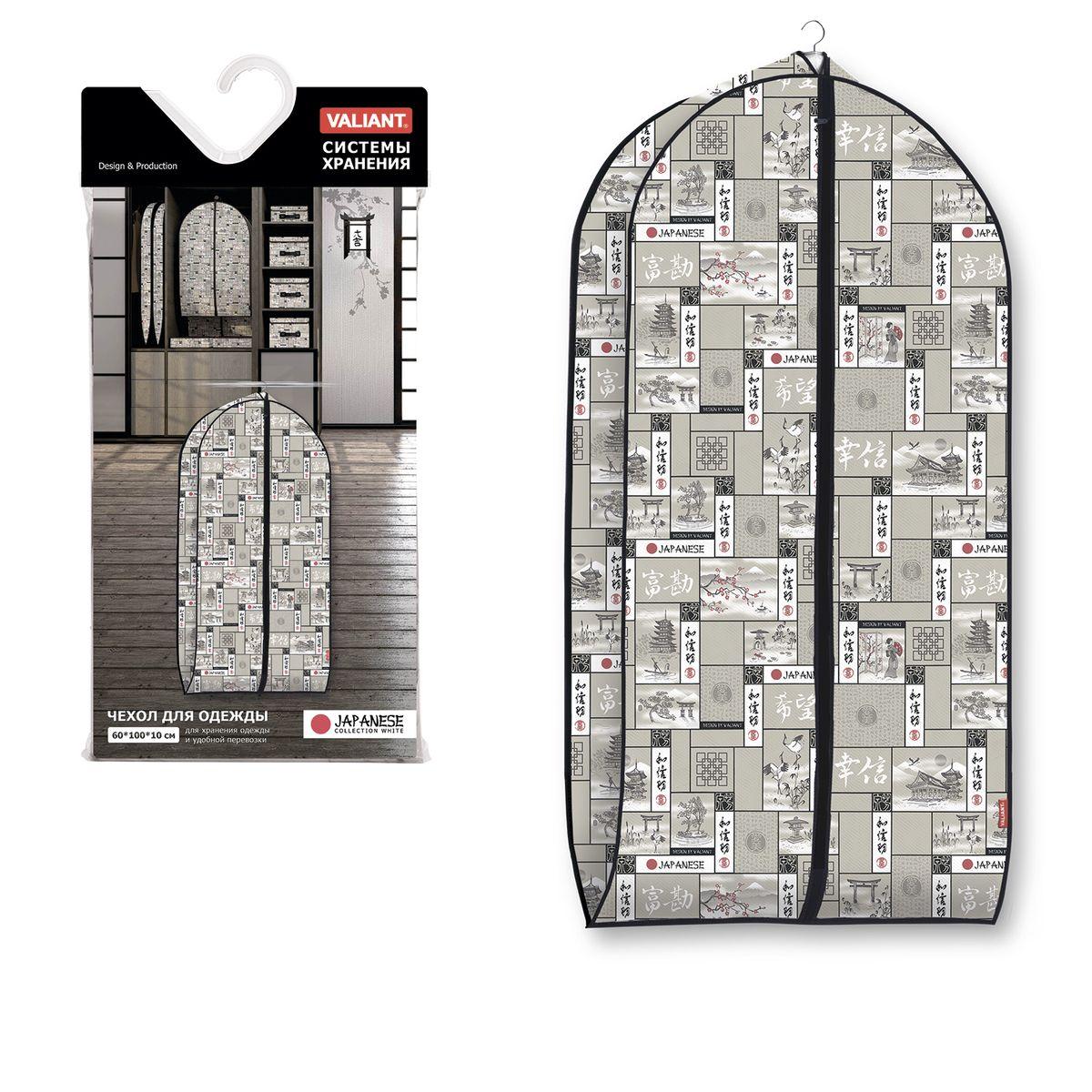 Чехол для одежды Valiant Japanese Black, объемный, 60 х 100 х 10 смES-412Чехол для одежды Valiant Japanese Black изготовлен из высококачественного нетканого материала (спанбонда), который обеспечивает естественную вентиляцию, позволяя воздуху проникать внутрь, но не пропускает пыль. Чехол очень удобен в использовании. Наличие боковой вставки увеличивает объем чехла, что позволяет хранить крупные объемные вещи. Чехол легко открывается и закрывается застежкой-молнией. Идеально подойдет для хранения одежды и удобной перевозки. Система хранения Japanese Black создаст трогательную атмосферу романтического настроения в женском гардеробе. Оригинальный дизайн придется по вкусу ценительницам эстетичного хранения. Системы хранения в едином дизайне сделают вашу гардеробную изысканной и невероятно стильной.