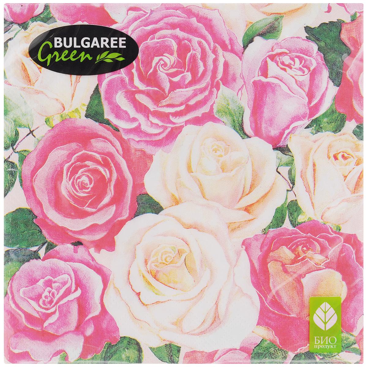 Салфетки бумажные Bulgaree Green Розовый букет, трехслойные, 33 х 33 см, 20 шт1002634Трехслойные салфетки Bulgaree Green Розовый букет выполнены из 100% целлюлозы и оформлены красивым рисунком. Изделия станут отличным дополнением любого праздничного стола. Они отличаются необычной мягкостью, прочностью и оригинальностью. Размер салфеток в развернутом виде: 33 х 33 см.