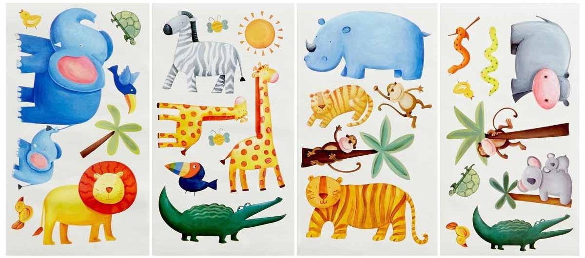 RoomMates Наклейка интерьерная Приключения в джунглях 29 штHJ 4009 ДекорИнтерьерные наклейки RoomMates Приключения в джунглях станут украшением вашей квартиры!Отправьтесь на поиски приключений со своими новыми друзьями! Новый увлекательный набор наклеек для декора содержит изображения жирафа, слона, зебры, льва, обезьяны и даже крокодила. Прекрасно подходит для детских, спален или даже классных комнат.Всего в наборе 29 стикеров. Наклейки не нужно вырезать - их следует просто отсоединить от защитного слоя и поместить на стену или любую другую плоскую гладкую поверхность.Наклейки многоразовые: их легко переклеивать и снимать со стены, они не оставляют липких следов на поверхности. Наклейки могут быть использованы много раз, при переклейке не портят и не пачкают поверхность. Очень просты в использовании, наклеить их сможет даже ребенок!