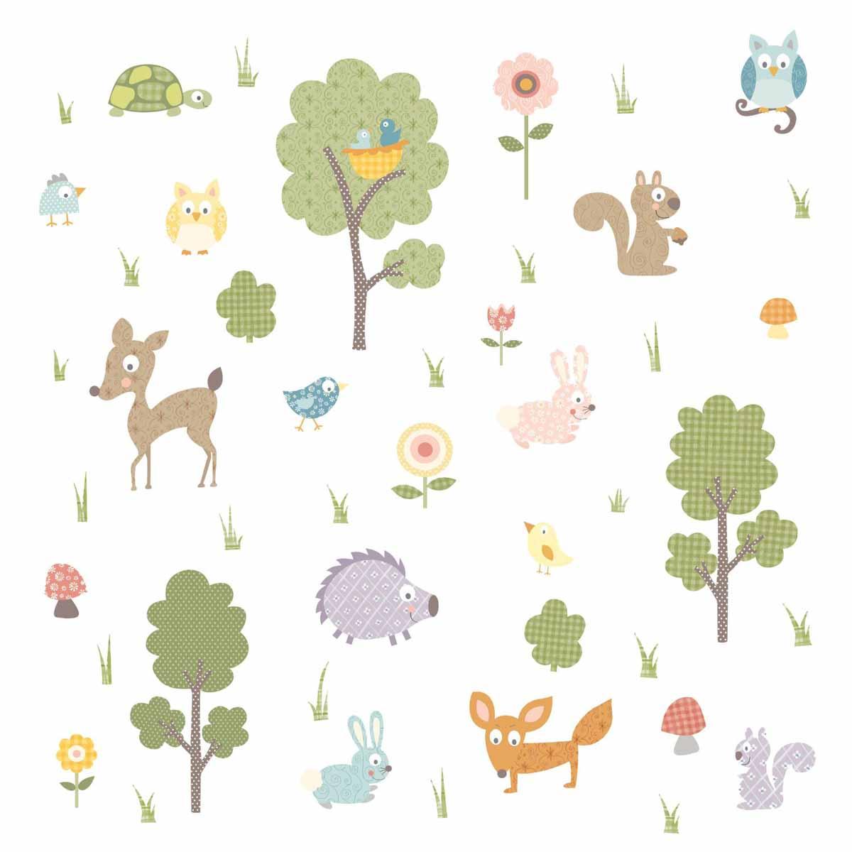 RoomMates Наклейка интерьерная Лесные звери 89 штTEMP-04Наклейки для декора RoomMates Лесные жители обязательно станут украшением вашей квартиры.Природа никогда не была такой веселой! Привнесите цвет и яркость в комнату с помощью нового увлекательного набора наклеек для декора! Каждый лист наклеек, входящих в комплект, содержит изображения дружелюбных белочек, веселых кроликов, любопытного оленя, а также птичек, цветов, деревьев и многого другого!Всего в наборе 89 стикеров. Наклейки не нужно вырезать - их следует просто отсоединить от защитного слоя и поместить на стену или любую другую плоскую гладкую поверхность. Наклейки многоразовые: их легко переклеивать и снимать со стены, они не оставляют липких следов на поверхности. В каждой индивидуальной упаковке вы можете найти 4 листа с различными наклейками.
