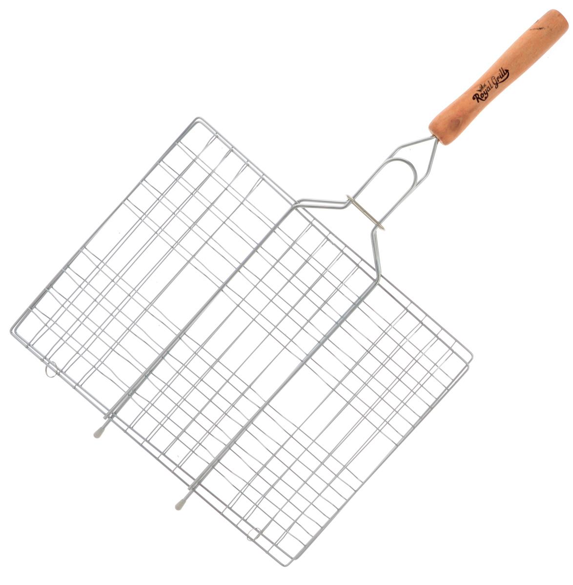 Решетка-гриль RoyalGrill, 31 х 24 см80-031Универсальная решетка-гриль RoyalGrill изготовлена из высококачественной стали. На решетке удобно размещать стейки, ребрышки, гамбургеры, сосиски, рыбу, овощи.Решетка предназначена для приготовления пищи на углях. Блюда получаются сочными, ароматными, с аппетитной специфической корочкой. Рукоятка изделия оснащена деревянной вставкой и фиксирующей скобой, которая зажимает створки решетки. Размер рабочей поверхности решетки (без учета усиков): 31 х 24 см.Общая длина решетки (с ручкой): 54 см.