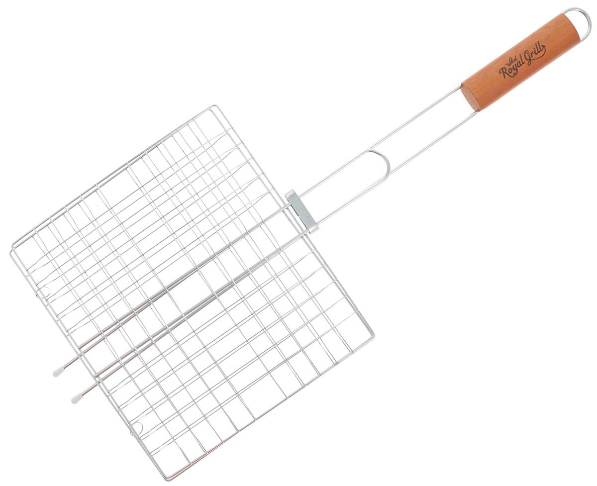 Решетка-гриль RoyalGrill, 27 х 24 см80-020Универсальная решетка-гриль RoyalGrill изготовлена из высококачественной стали. На решетке удобно размещать стейки, ребрышки, гамбургеры, сосиски, рыбу, овощи. Решетка предназначена для приготовления пищи на углях. Блюда получаются сочными, ароматными, с аппетитной специфической корочкой. Рукоятка изделия оснащена деревянной вставкой и фиксирующей скобой, которая зажимает створки решетки. Размер рабочей поверхности решетки (без учета усиков): 27 х 24 см. Общая длина решетки (с ручкой): 62,5 см.