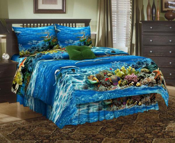 Комплект белья ЭГО Море, 1,5-спальный, наволочки 70х70, цвет: синий. Э-2003-01Э-2003-01