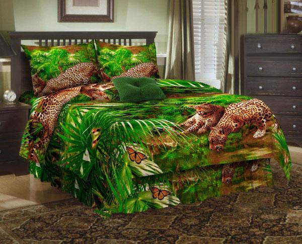 Комплект белья ЭГО Леопард, 1,5-спальный, наволочки 70х70, цвет: зеленый. Э-2004-01Э-2004-01