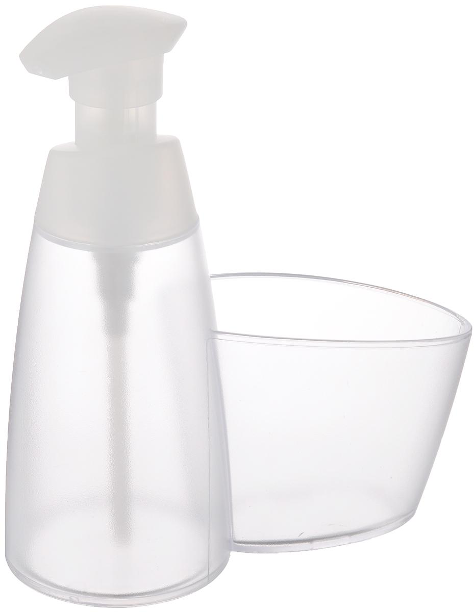 Дозатор для моющего средства Tescoma Clean Kit, с подставкой для губки, цвет: прозрачный, белый, 350 мл900614Дозатор Tescoma Clean Kit, выполненный из прочного пластика, прекрасно подходит для удобной дозировки и хранения моющих средств на кухонном гарнитуре, рядом с мойкой. Имеется подставка под губку. Можно мыть в посудомоечной машине. Высота дозатора (с учетом крышки): 18 см. Диаметр основания дозатора: 7,5 см. Размер подставки для губки: 10 х 6,5 х 8 см.
