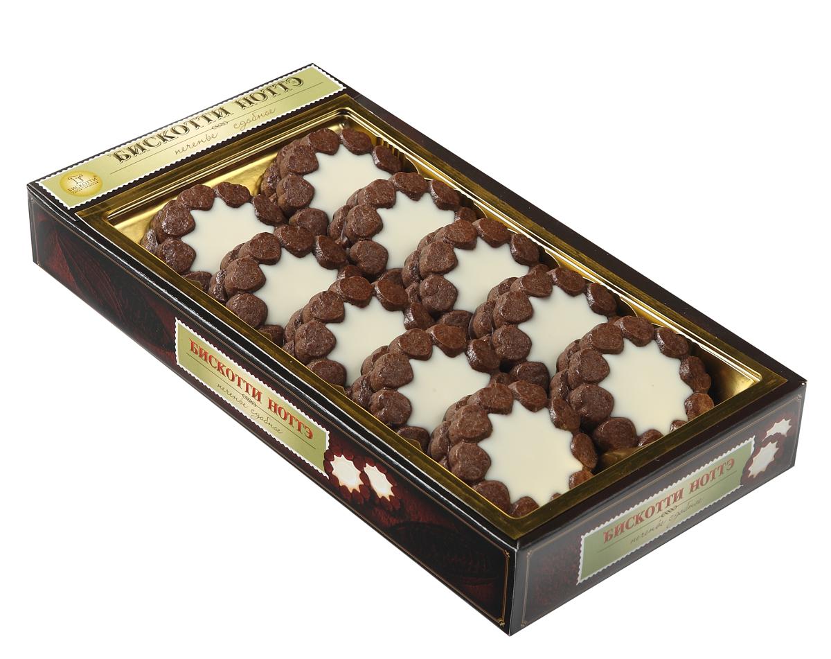 Бискотти Ноттэ печенье сдобное, 270 г0120710Notte - в переводе с итальянского языка обозначает ночь. Бискотти Ноттэ - это печенье с большим содержанием какао-порошка и сухого молока, изготовленное по оригинальной итальянской рецептуре. Нежнейший белый крем начинки гармонично сочетается с темным шоколадным тестом печенья и усиливается вкусом шоколадной глазури.