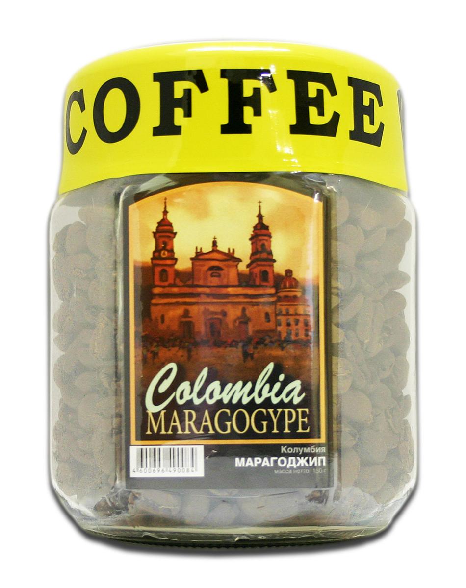 Блюз Марагоджип Колумбия кофе в зернах, 150 г (банка)0120710Кофе Блюз Марагоджип Колумбия выращивается в самых экологически чистых регионах Латинской Америки. Напиток имеет тонкий, ярко выраженный аромат, а также мягкий, слегка винный вкус. Настой насыщенный, со средней кислотностью.