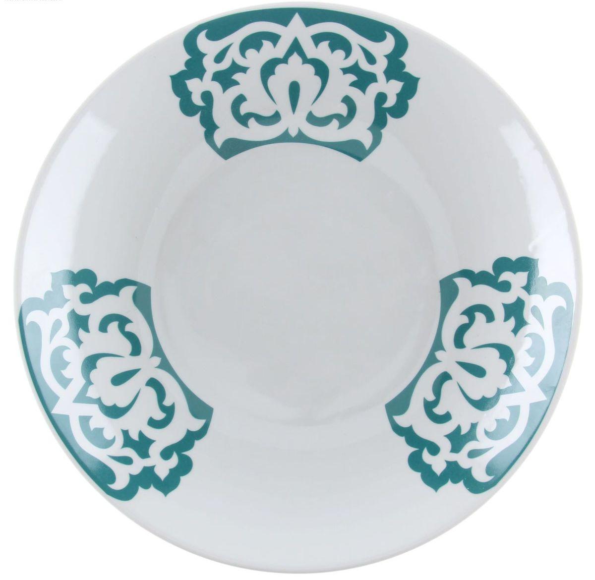 Сухарница Азия, цвет: белый, зеленый, диаметр 27 смVT-1520(SR)Сухарница Азия выполнена из высококачественного фарфора и украшена оригинальным орнаментом.Изделие доставит истинное удовольствие ценителям прекрасного. Яркий дизайн, несомненно, придется вам по вкусу. Диаметр сухарницы (по верхнему краю): 27 см.