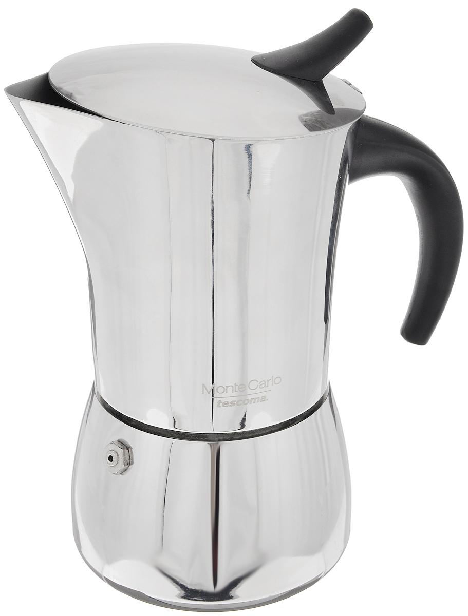 Кофеварка гейзерная Tescoma Monte Carlo, на 4 чашки647104Компактная гейзерная кофеварка Tescoma Monte Carlo изготовлена из высококачественной нержавеющей стали. Объема кофе хватает на 4 чашки. Изделие оснащено удобной ручкой из пластика. Принцип работы такой гейзерной кофеварки - кофе заваривается путем многократного прохождения горячей воды или пара через слой молотого кофе. Удобство кофеварки в том, что вся кофейная гуща остается во внутренней емкости. Гейзерные кофеварки пользуются большой популярностью благодаря изысканному аромату. Кофе получается крепкий и насыщенный. Подходит для газовых, электрических, стеклокерамических и индукционных плит. Нельзя мыть в посудомоечной машине. Высота (с учетом крышки): 17 см. Диаметр (по верхнему краю): 8,7 см.