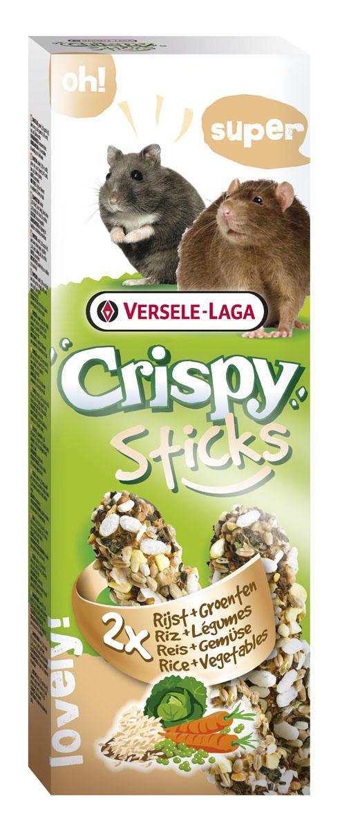 Палочки для хомяков и крыс Versele-Laga Crispy, с рисом и овощами, 2 х 55 г лакомства для крыс и мышей зверюшки две палочки подсолнух 2 шт х 40 г