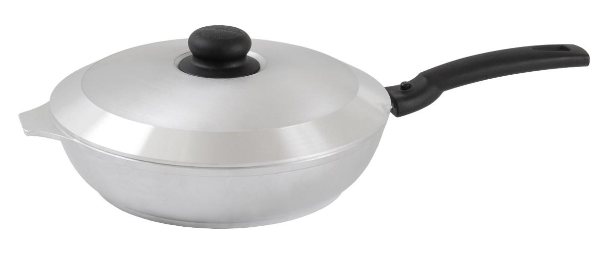 Сковорода Kukmara с крышкой, со съемной ручкой. Диаметр 24 см94672Сковорода Kukmara изготовлена из литого алюминия. Она идеально подходит для жарки мяса, запекания, тушения овощей, еда в такой посуде не пригорает, а томится как в русской печи. Толстостенная сковорода обеспечивает быстрое и равномерное распределение тепла по всей поверхности. Сковорода экологически безопасная и не подвергается деформации. Изделие оснащено крышкой и удобной пластиковой ручкой.Такая сковорода понравится как любителю, так и профессионалу. Сковорода подходит для газовых и электрических плит. Диаметр сковороды по верхнему краю: 24 см. Высота стенки: 6 см.