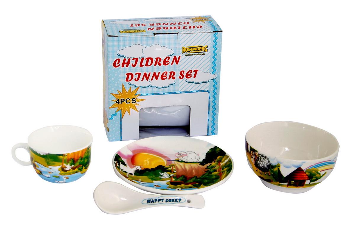 Rosenberg Набор детской посуды 879673807000164Набор детской посуды Rosenberg, 4 предмета: 1 глубокая тарелка d=15 см, 1 плоская тарелка d=18 см, 1 кружка 180 мл, 1 ложка 14 см Материал: керамика