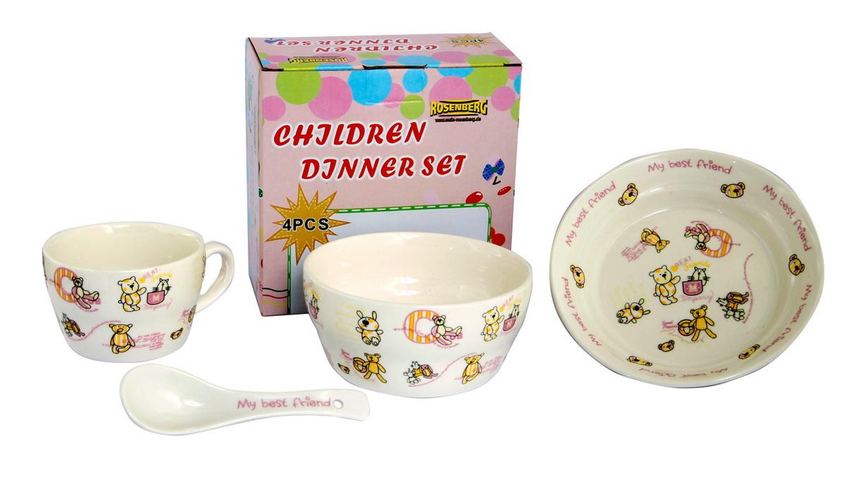 Rosenberg Набор детской посуды 879643807000161Набор детской посуды Rosenberg, 4 предмета: 1 глубокая тарелка d=15 см, 1 плоская тарелка d=18 см, 1 кружка 250 мл, 1 ложка 14 см Материал: керамика