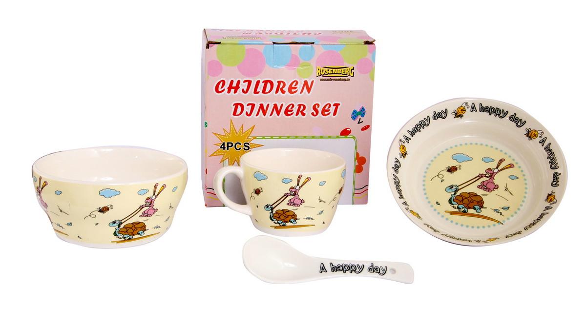 Rosenberg Набор детской посуды 879623807000159глубокая тарелка , бульонная чаша 470мл, кружка 250мл, ложка 14см