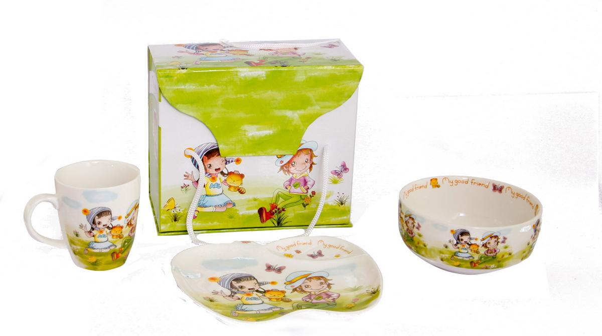 Rosenberg Набор детской посуды 87783807000150Набор детской посуды Rosenberg: плоская тарелка 17.5 х 15 см, глубокая тарелка 12.5 х 12.5 см, 300 мл кружка 175 мл Материал: керамика