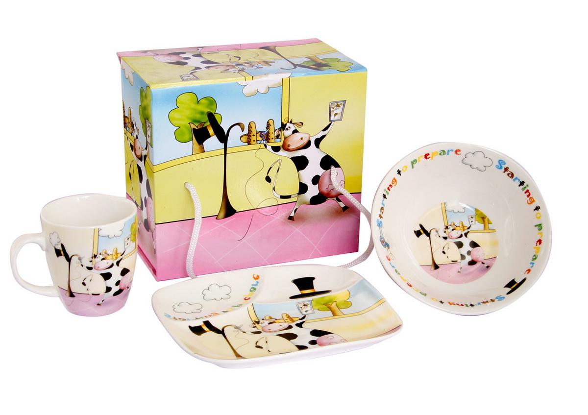 Rosenberg Набор детской посуды 87753807000142Набор детской посуды Rosenberg: плоская тарелка 17.5 х 15 см, глубокая тарелка 12.5 х 12.5 см, 300 мл кружка 175 мл Материал: керамика