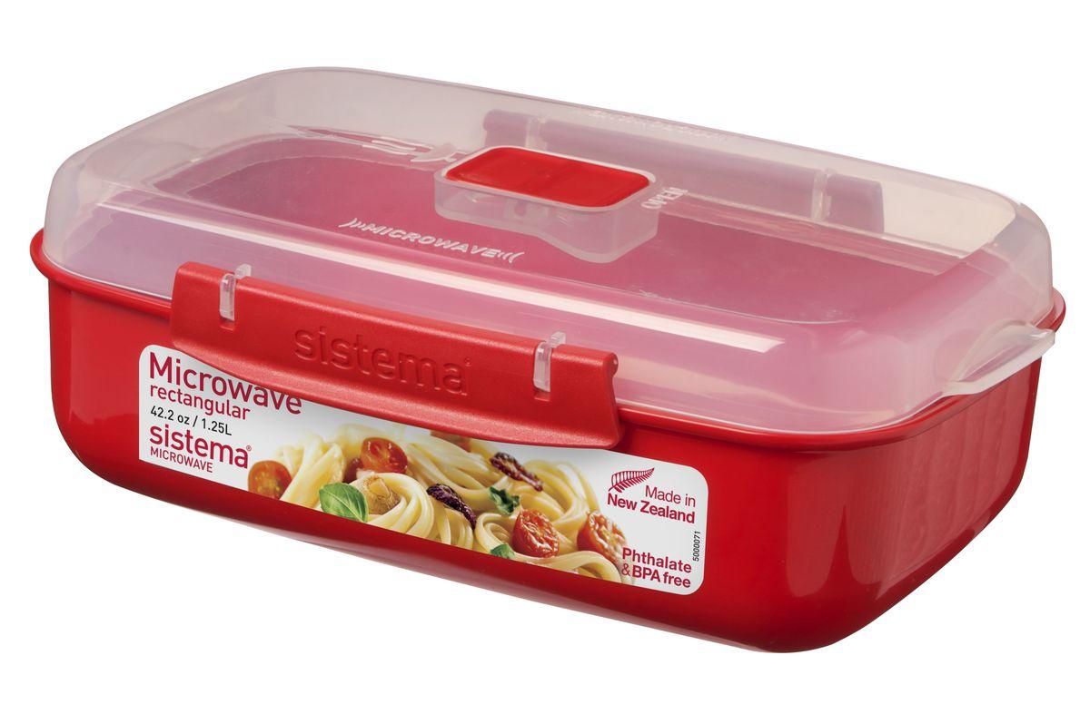 Контейнер прямоугольный Sistema Microwave, 1,25 л1114В контейнере Sistema Microwave Вы с легкостью сможете не только разогреть пищу в СВЧ, но и приготовить ее. Контейнер надежно закрывается клипсами, которые при необходимости можно заменить. Крышка с силиконовой прокладкой герметично закрывается что помогает дольше сохранить полезные свойства продуктов. Можно мыть в посудомоечной машине.