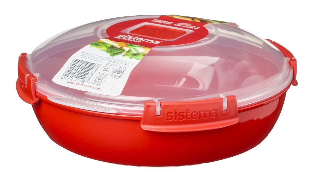 Контейнер круглый Sistema Microwave, 1,3 л1118В контейнере Sistema Microwave Вы с легкостью сможете не только разогреть пищу в СВЧ, но и приготовить ее. Контейнер надежно закрывается клипсами, которые при необходимости можно заменить. Крышка с силиконовой прокладкой герметично закрывается что помогает дольше сохранить полезные свойства продуктов. Можно мыть в посудомоечной машине.