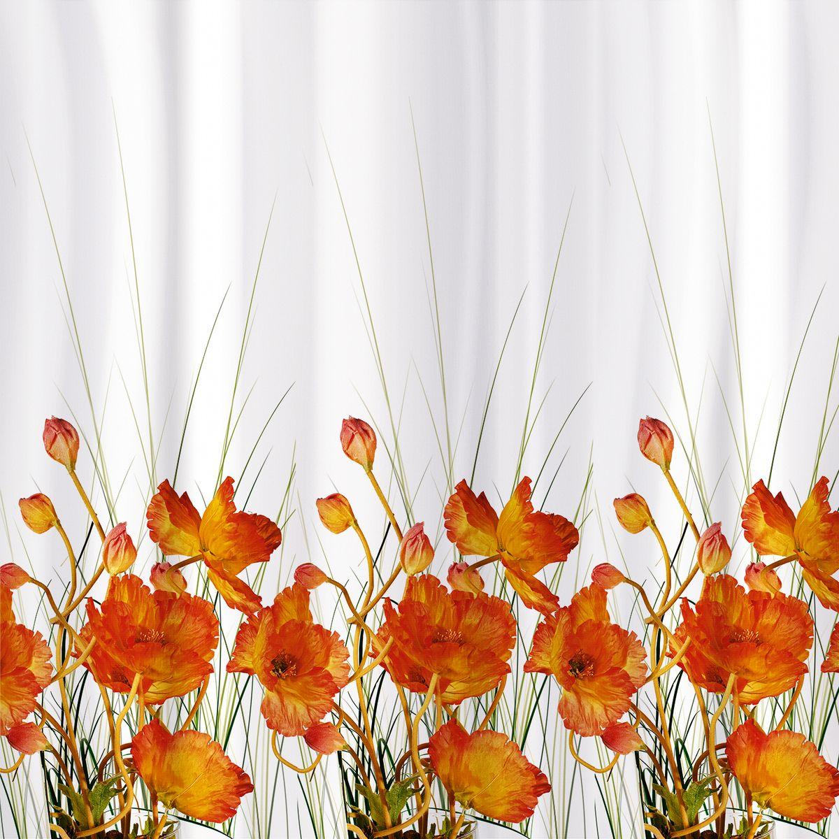 Штора для ванной Tatkraft French Poppies Textile, цвет: белый, оранжевый, 180 х 180 см80653Штора для ванной Tatkraft French Poppies Textile имеет специальную водоотталкивающую пропитку и антигрибковое покрытие. Штора быстро сохнет, легко моется и обладает повышенной износостойкостью. Штора оснащена магнитами-утяжелителями для лучшей фиксации. Мягкая и приятная на ощупь штора для ванной Tatkraft порадует вас своим ярким дизайном и добавит уюта в ванную комнату.