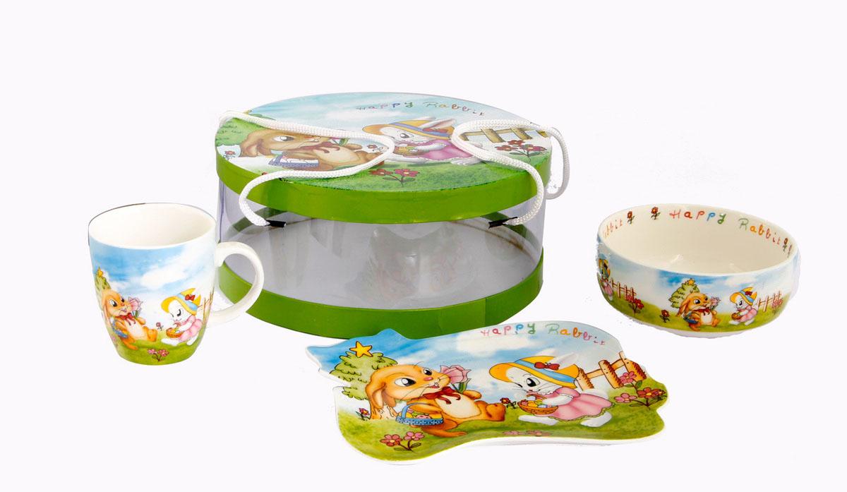 Rosenberg Набор детской посуды 87723807000139Набор детской посуды Rosenberg: плоская тарелка 17.5 х 15 см, глубокая тарелка 12.5 х 12.5 см, 300 мл кружка 175 мл Материал: керамика