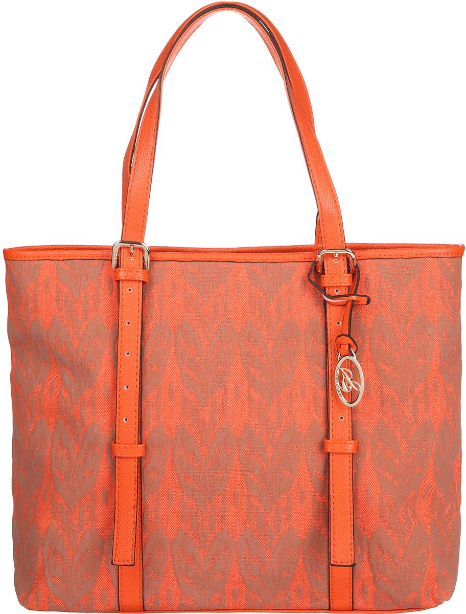 Сумка женская Jane Shilton, цвет: оранжевый, бежевый. 20802080orangeСтильная женская сумка Jane Shilton, выполненная из искусственной кожи и текстиля, оформлена оригинальным принтом и дополнена фирменным брелоком. Изделие имеет одно основное отделение, закрывающееся на застежку-молнию. Внутри находятся накладной открытый карман и мягкий карман для планшета или небольшого ноутбука, закрывающийся на хлястик с застежкой- кнопкой. Снаружи, на задней стенке расположен прорезной карман на застежке-молнии. Модель оснащена двумя удобными ручками. Роскошная сумка внесет элегантные нотки в ваш образ и подчеркнет ваше отменное чувство стиля.