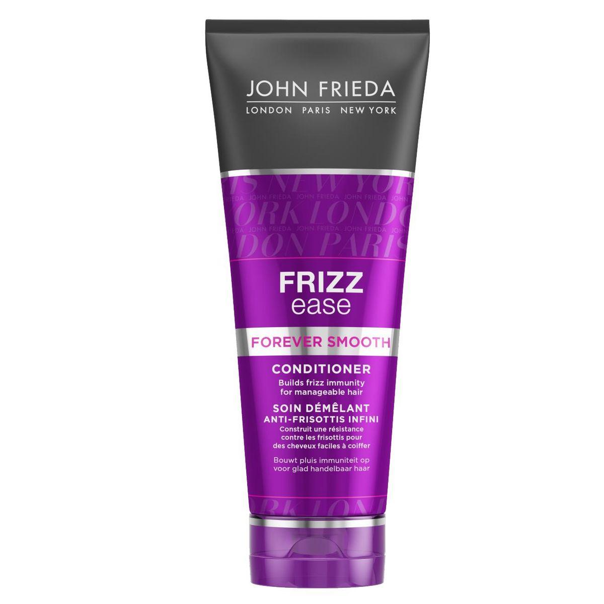John Frieda Кондиционер для гладкости волос длительного действия против влажности Frizz Ease FOREVER SMOOTH 250 млjf113220Формирует иммунитет вьющихся волос от влажности делает их удивительно послушными на длительное время. Волосы приобретают внутренний иммунитет от курчавости волос. Кондиционер FOREVER SMOOTH с инновационными Frizz Immunity комплексом и чистейшим маслом Кокоса, действует как питательный маска и делает волосы более мягкими и послушными, с каждым применением постепенно формирует у волос иммунитет против курчавости.
