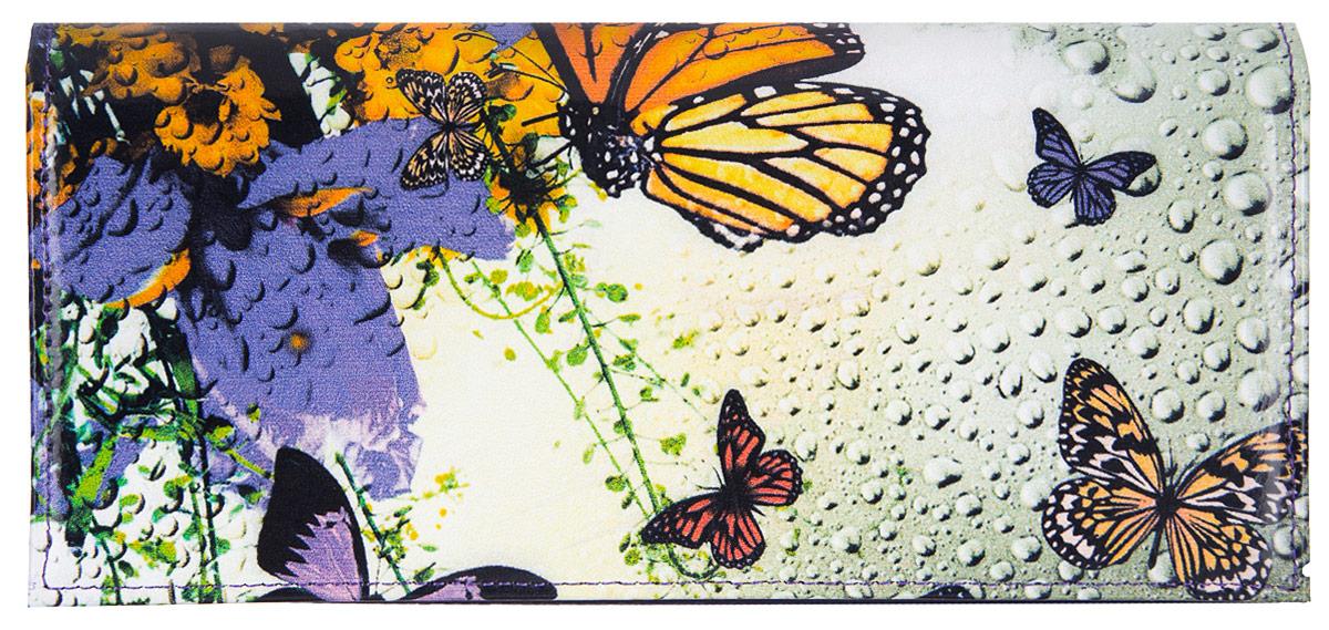 Портмоне женское Flioraj Бабочки, цвет: белый, синий, оранжевый. 0005093600050936Элегантный портмоне Flioraj выполнен из натуральной кожи с красочным фотопринтом. Кошелек закрывается широким клапаном на кнопку. Внутри имеется пять отделений для купюр и бумаг, карман для мелочи на застежке-молнии, шесть наборных карманов для кредитных карт или визиток. На внешней стороне расположен карман для мелких бумаг. Такое портмоне станет отличным подарком для человека, ценящего качественные и необычные вещи. Портмоне упаковано в картонную коробку с логотипом фирмы. B>Характеристики: Материал: натуральная кожа, металл, текстиль. Размер кошелька: 18 см x 9 см х 2 см. Цвет: белый, синий, оранжевый. Размер упаковки: 20 см х 12 см х 3 см. Производитель: Россия. Артикул: 00050936