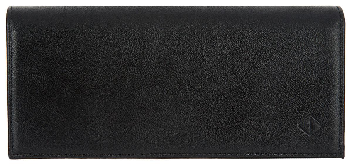 Портмоне женское Flioraj, цвет: черный. 0005111700051117Элегантный портмоне Flioraj выполнен из натуральной кожи. Кошелек закрывается широким клапаном на магнитную кнопку. Внутри имеется пять отделений для купюр и бумаг, карман для мелочи на застежке-молнии, шесть наборных карманов для кредитных карт или визиток. На внешней стороне расположен карман для мелких бумаг. Такое портмоне станет отличным подарком для человека, ценящего качественные и необычные вещи. Портмоне упаковано в картонную коробку с логотипом фирмы.