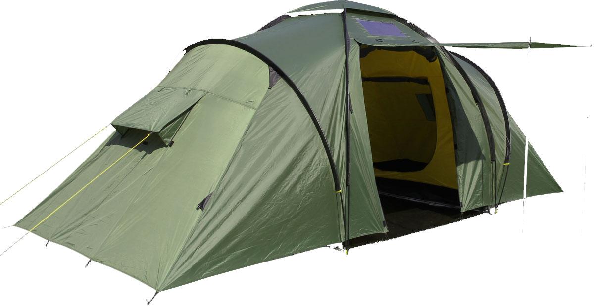 Палатка Сплав Twin camp 4, цвет: зеленыйGESS-725Сплав Twin camp 4 - это классическая кемпинговая палатка с двумя спальными отделениями и общим тамбуром. Палатка и тент изготовлены из прочного полиэстера. Высота позволяет перемещаться внутри палатки в полный рост. Входы в палатку продублированы противомоскитной сеткой. На торцевых поверхностях спальных отделений большие функциональные вентиляционные окна. Изделие снабжено отдельным полом для тамбура. Палатка имеет большое количество оттяжек для надежного натяжения в ветреную погоду. Швы тента и дна проклеены.Количество мест: 4.Размеры внешней палатки, тента: 515 х 225 х 200 см.Размеры спального места: 205 х 140 х 165 см.Размеры в упакованном виде: 75 х 37 х 19 см.Полный вес: 13,51 кг.Минимальный вес (без чехла и колышков): 12,03 кг.