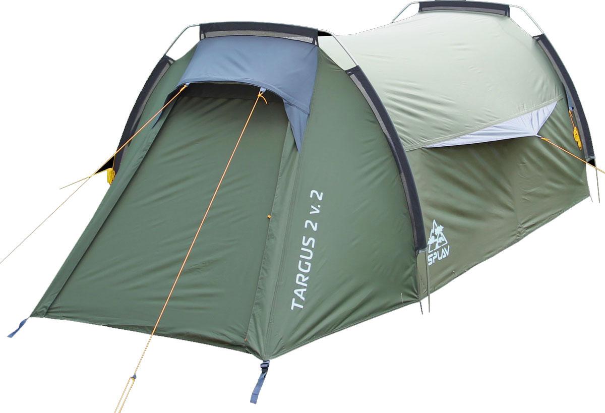 Палатка Сплав Targus 2 v.2, цвет: зеленый5058450Сплав Targus 2 v.2 - это комфортная двухместная туристическая палатка на внешних дугах. Палатка имеет два входа и два тамбура. Вход внутренней палатки продублирован противомоскитной сеткой. Благодаря большим вентиляционным отверстиям над входами, палатка обладает хорошей проточной вентиляцией. Конструкция на внешних дугах позволит легко и быстро установить палатку даже в неблагоприятных погодных условиях. Палатка снабжена штормовыми оттяжками. Веревки оттяжек имеют вплетенную светоотражающую нить. Швы тента и дна проклеены. Количество мест: 2. Размеры внешней палатки: 350 х 135 х 100 см. Размеры спального места: 200 х 120 х 90 см. Полный вес: 2,99 кг. Минимальный вес (без чехла и колышков): 2,73 кг.