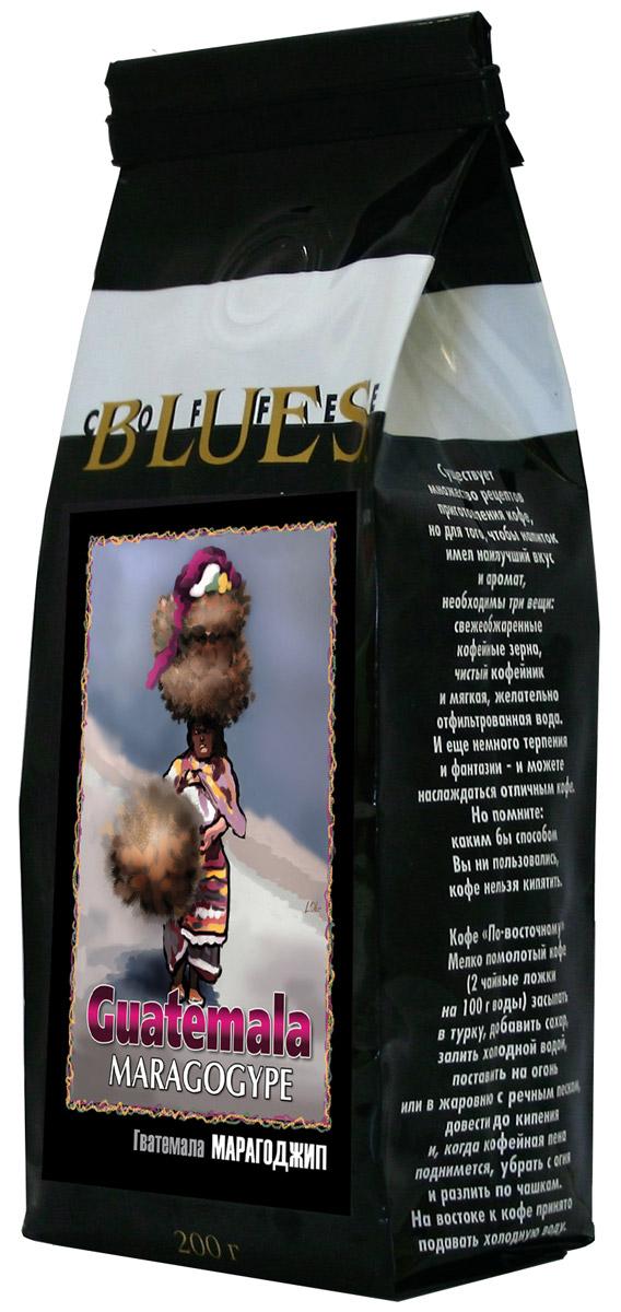БлюзМарагоджип Гватемала кофе в зернах, 200 г0120710Огромные зёрна марагоджипа - самой крупной разновидности арабики, выращиваемые фермерами Гватемалы, затем заботливо обжаренные для вас в Блюзе. Ярко выраженный острый вкус, высокая кислотность и особенный, с привкусом дыма, аромат. Настой насыщенный, с долгим мягким послевкусием. Букет богатый, комплексный, с фруктовыми, цветочными и дымными оттенками.