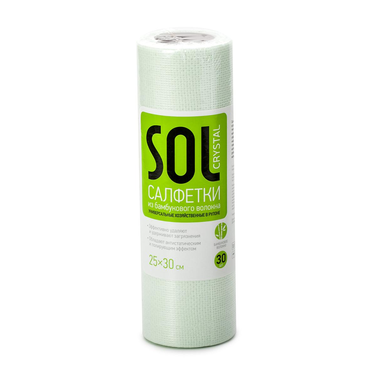 Салфетка для уборки Sol Crystal, в рулоне, 25 x 30 см, 30 шт20006Универсальные хозяйственные салфетки в рулоне Sol Crystal - это удобное решение для любых типов уборки. Изделие выполнено из бамбукового волокна, полиэстера и вискозы. Салфетки обладают полирующим и антистатическим эффектом. Подходят для сухой и влажной уборки, быстро и эффективно впитывают жидкость, не оставляя ворса и разводов на поверхности. Они очень удобны в использовании - легко отрываются от рулона по линии перфорации и могут быть использованы многократно.