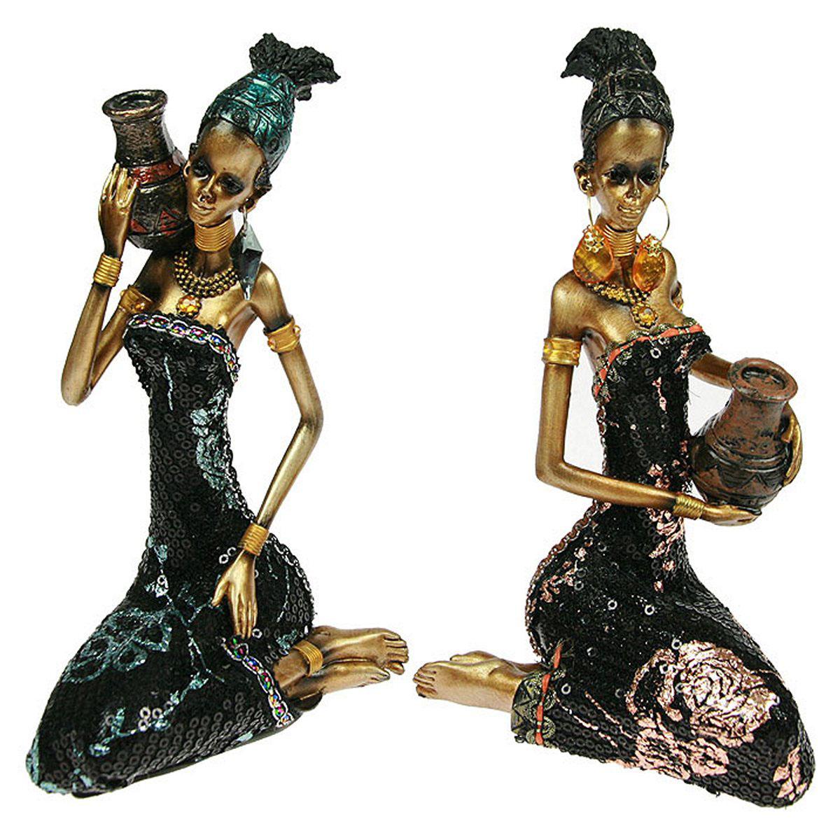 Статуэтка Русские Подарки Африканка, 10 х 11 х 19 см26122