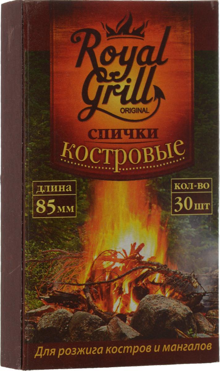 Спички RoyalGrill, костровые, 30 шт80-134Спички RoyalGrill предназначены для розжига костров и мангалов. Они всегда выручат в плохую погоду на открытом воздухе. Состав: древесина, зажигательный состав. Длина спички: 8,5 см. Количество: 30 шт.
