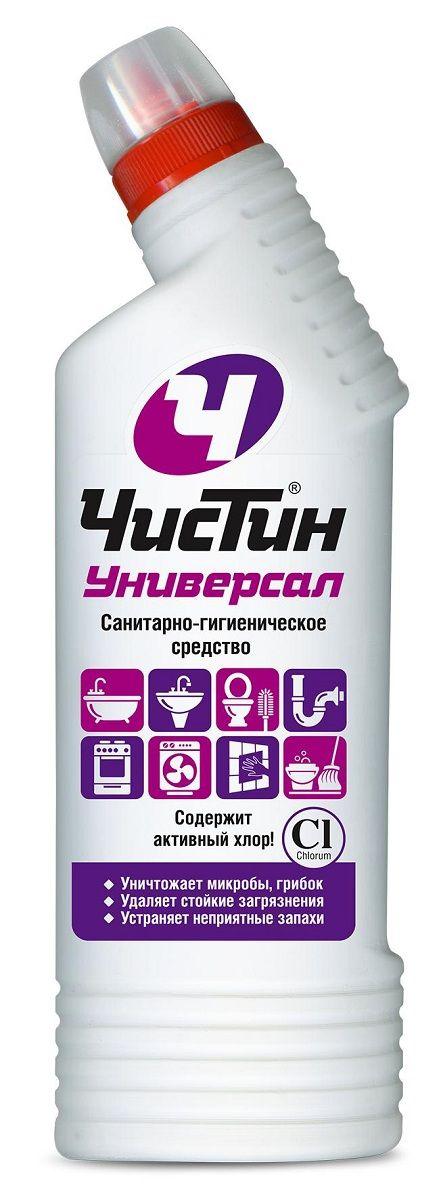 Санитарно-гигиеническое средство Чистин Универсал, 750 мл4602984007677Санитарно-гигиеническое средство Чистин Универсал Уничтожает микробы, грибок, неприятные запахи. Предназначено для чистки и антимикробной обработки раковин, ванн, душевых кабин, унитазов, профилактики засоров канализационных стоков, мытья керамической плитки, любых твердых моющихся напольных покрытий, настенных панелей, моющихся обоев, бытовой техники. Способ применения: Раковины, ванны, унитазы, керамическая плитка: нанести средство на поверхность, при необходимости выдержать 2-5 мин, почистить и тщательно смыть. Для уничтожения микробов и удаления стойких загрязнений выдержать 60 мин. Канализационные стоки: залить в водосток (250 мл), оставить на ночь. Мытье водостойких поверхностей (плитка, полы, рабочие поверхности, бытовая техника и т.д.): мыть раствором 20 мл (2 колпачка) на 5 л воды. Состав: < 5 %: гипохлорит натрия (калия); < 5 %: АПАВ и НПАВ; < 5 %: щелочь, соль ЭДТА, ароматизирующая добавка.