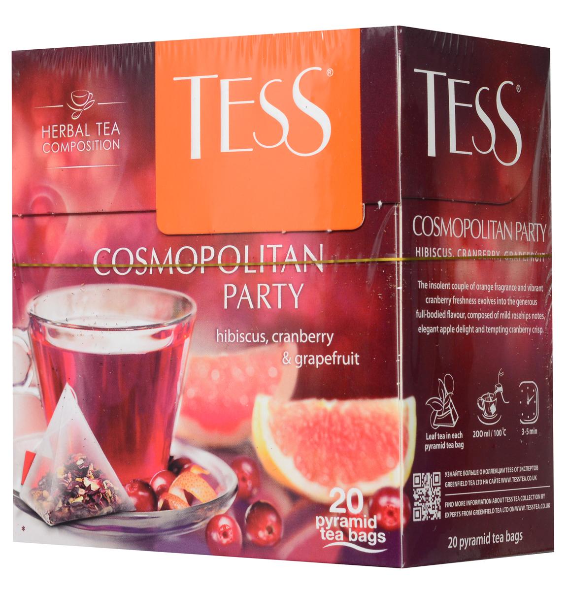 Tess Cosmopolitan Party травяной чай в пирамидках, 20 шт1008-12Дерзкое сочетание апельсинового аромата и яркой свежести клюквы находит продолжение в щедром насыщенном вкусе травяного чая Tess Cosmopolitan Party, сложенном из мягких нот шиповника, тонкой яблочной сладости и заманчивой кислинки гибискуса
