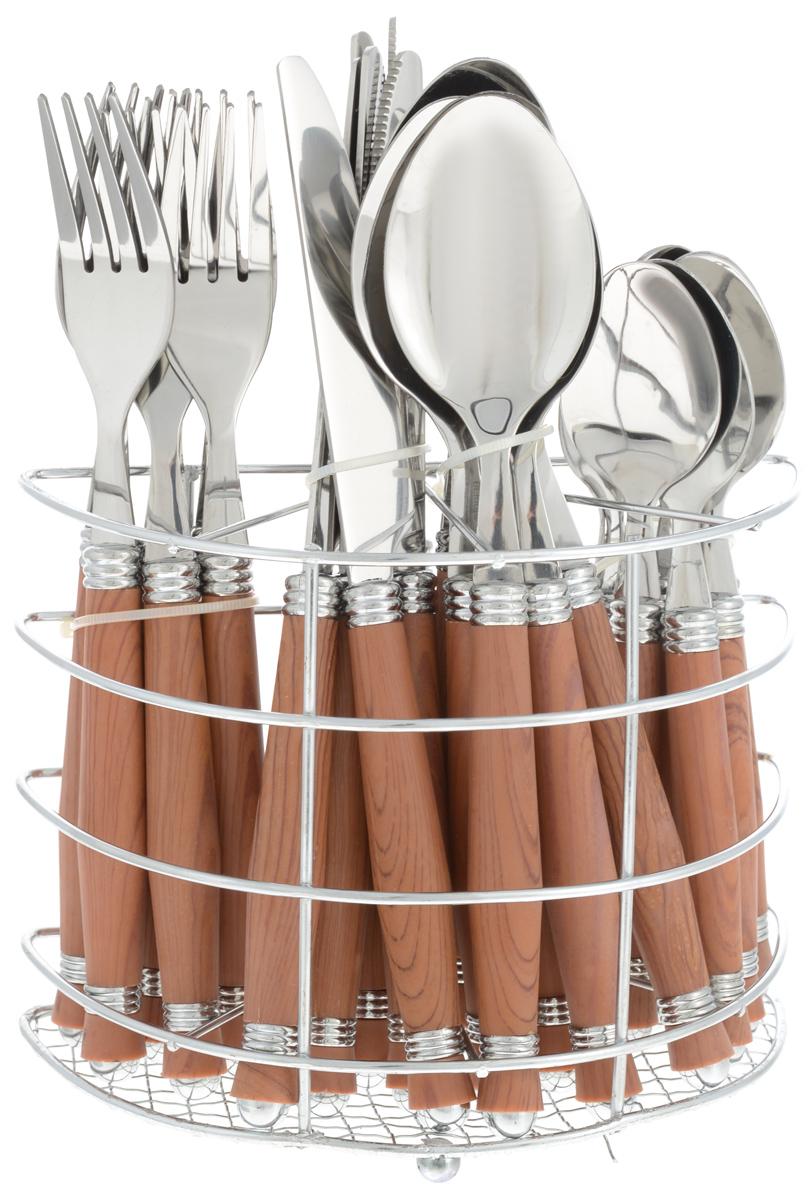 Набор столовых приборов Bekker, цвет: темно-коричневый, стальной. 25 предметов. BK-3305115510Набор столовых приборов Bekker выполнен из прочной полированной нержавеющей стали и высококачественного пластика. В набор входят 6 столовых ложек, 6 вилок, 6 чайных ложек и 6 ножей. Приборы имеют оригинальные удобные ручки с пластиковыми вставками под дерево. Прекрасное сочетание яркого дизайна и удобства использования предметов набора придется по душе каждому. Изделия расположены на металлической подставке, что удобно для хранения набора прямо на столе или столешнице. Набор столовых приборов Bekker подойдет как для ежедневного использования, так и для торжественных случаев.Можно мыть в посудомоечной машине.Длина ножа: 22,5 см. Длина столовой ложки: 21 см. Длина вилки: 20,5 см. Длина чайной ложки: 17,5 см. Размер подставки: 17 x 8,5 x 13,5 см.
