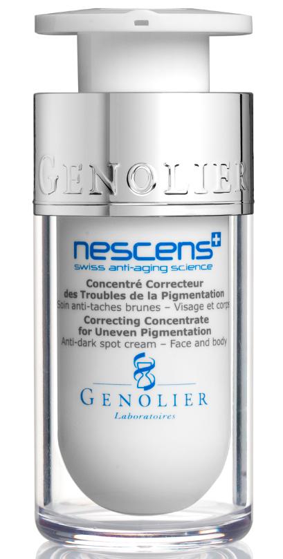 Nescens Концентрат-корректор пигментных пятен, 15млFS-00103Технологии NESCENS – это значительный прорыв в области коррекции изменений кожи, связанных с фото-старением. Регулярное нанесение этого активного концентрата обеспечивает омолаживающий эффект: темные пигментные пятна становятся светлее, улучшается тон кожи. Основное действие ингредиентов: усиливают клеточную пролиферацию и биосинтез молекулярных составляющих, улучшая механические свойства кожи (эластичность, прочность, тонус), разглаживают поверхность кожи, эффективно разглаживают и обновляют ткани, усиливают защитные свойства кожи и противостоят фотостарению.