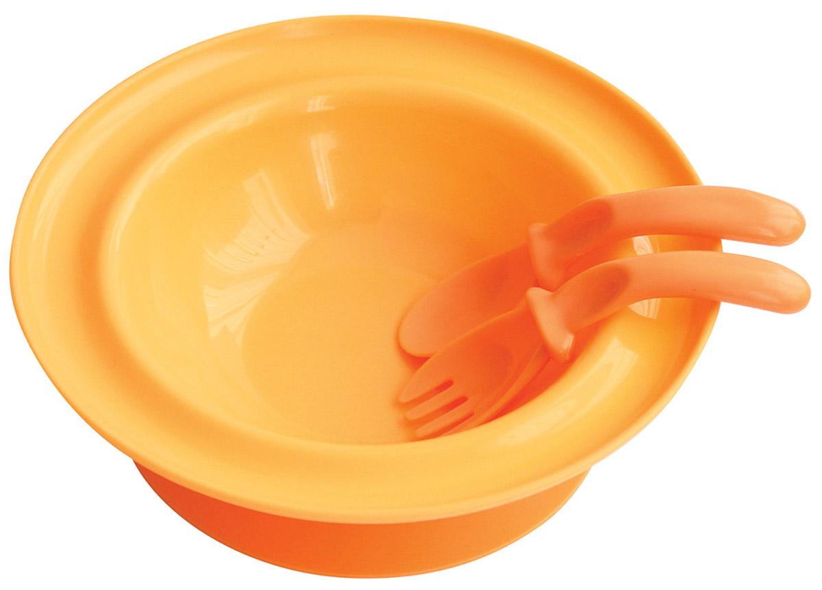 Lubby Набор посуды для кормления 3 предмета цвет оранжевый5523_оранжевыйНабор для кормления Lubby включает в себя тарелку, вилку и ложку. Тарелка на присоске с приборами незаменима в период, когда ваш малыш учится кушать самостоятельно. Специальная изогнутая форма ложки и вилки комфортно размещается в руке малыша для удобства приема пищи. Присоска позволяет надежно прикрепить тарелку к столу. Для снятия тарелки со стола необходимо потянуть за язычок. Подходит для посудомоечных машин и микроволновых печей.