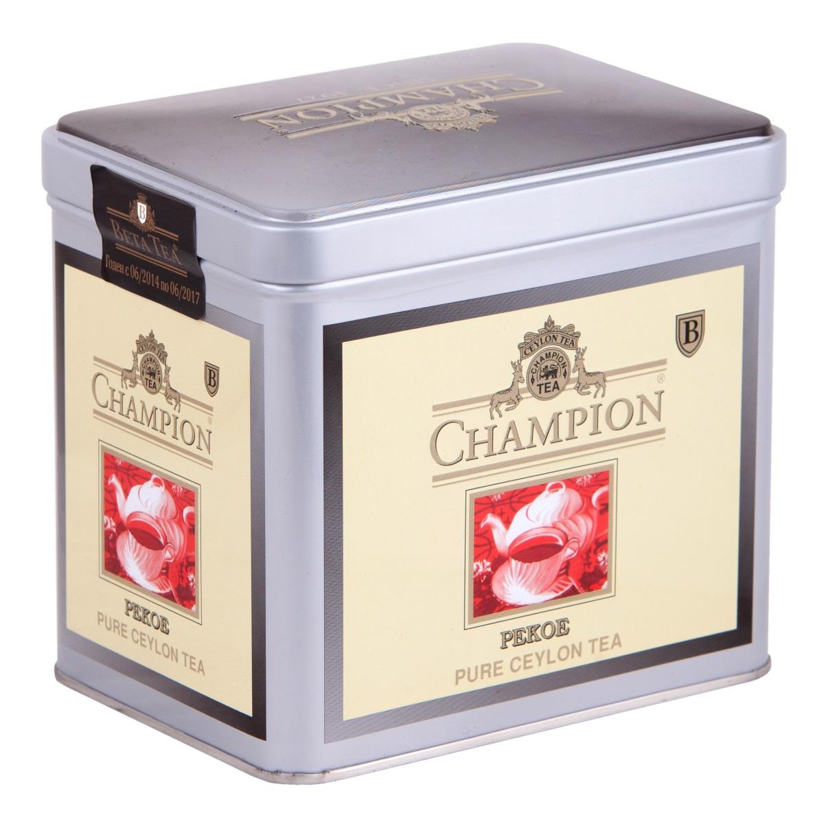 Champion Пеко черный листовой чай, 250 г (металлическая банка)0120710Чай Champion Пеко с богатым вкусом, прозрачным и золотистым цветом дает возможность любителям чая оценить настоящий вкус напитка. Чай этого сорта выращивается на плантациях Шри-Ланки. При его создании используется особая технология скручивания чайных листочков. Сочный насыщенный цвет, богатый аромат и терпкость - его отличительные характеристики.