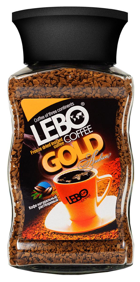 Lebo Gold кофе растворимый, 100 г0120710Сублимированный кофе Lebo Gold подарит бодрость и великолепный вкус каждому, кто начинает свое утро с чашечки горячего кофе. Легкость приготовления и высокие вкусо-ароматические качества, полученные благодаря особой технологии производства, оценят даже самые изысканные ценители кофе.