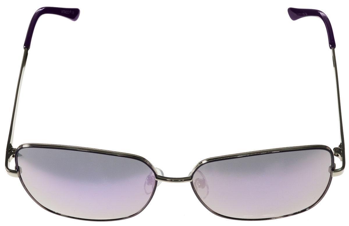 Очки солнцезащитные женские Vitacci, цвет: серебряный, фиолетовый. G146INT-06501Стильные солнцезащитные очки Vitacci выполнены из металла с элементами из высококачественного пластика.Линзы данных очков имеют степень затемнения С4, а также обладают высокоэффективным поляризационным покрытием со степенью защиты от ультрафиолетового излучения UV400. Используемый пластик не искажает изображение, не подвержен нагреванию и вредному воздействию солнечных лучей. Оправа очков легкая, прилегающей формы, дополнена носоупорами и поэтому обеспечивает максимальный комфорт.Такие очки защитят глаза от ультрафиолетовых лучей, подчеркнут вашу индивидуальность и сделают ваш образ завершенным.