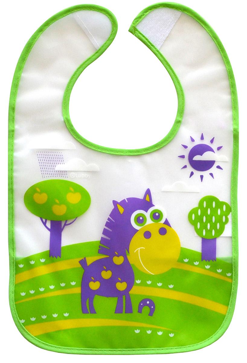 Lubby Нагрудник на липучке В мире животных цвет зеленый фиолетовый 14076